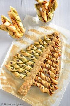 Sapin feuilleté, olive et graines de sésame