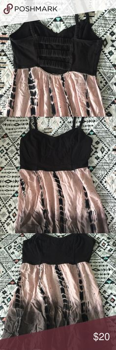 Summer mini dress Black pink/ peach and gray light weight dress open strappy back American Eagle Outfitters Dresses Mini