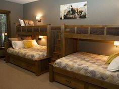 Good Idea for a Bunk Room in a Cabin. Custom built-in bunk beds - two twins over two queens with drawer steps. Bunk Beds Built In, Kids Bunk Beds, Double Bunk Beds, Adult Bunk Beds, Twin Beds, Bunk Beds For Adults, Bunk Bed With Trundle, Double Twin, Home Bedroom