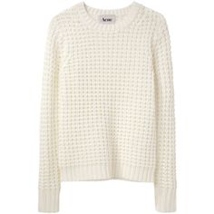 Acne Lina Pinapple Sweater (€180) ❤ liked on Polyvore featuring tops, sweaters, shirts, jumpers, crew neck long sleeve shirts, white crew neck sweater, crewneck shirts, crew shirt and chunky sweater