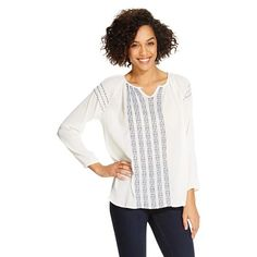 Women s Woven 3 4 Sleeve Embroidered Peasant Top - Beach Lunch Lounge Beach  Lunch 8115623dd9