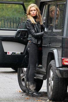 Model Abbey Clancy spotted wearing Ash 'Trash' biker boots