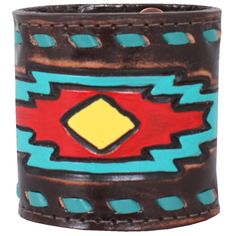 """CUF330 - 3""""Brown Vintage Cuff With Arrow Tooled Design"""