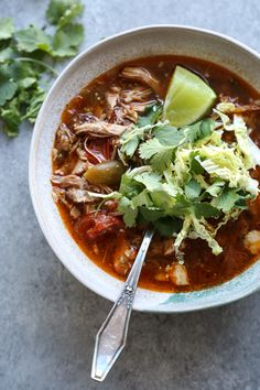 This classic Mexican pork posole soup is a hybrid of the pozole rojo and verde versions with both red chiles and tomatillos. It's paleo crock pot optional! Posole Soup, Pork Posole, Pozole, Whole 30 Recipes, Pork Recipes, Mexican Recipes, Healthy Gluten Free Recipes, Paleo Food, Party