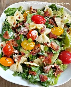 This BLT Pasta Salad is Super fresh and hearty, great for anytime of the year. I like to use fresh multi colored baby tomatoes in this salad, it gives it that extra special flavor.