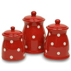 Red Polka Dot Ceramic Kitchen Canister Set  # 80204WD  Price: $49.99