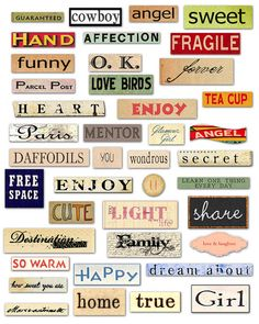 Free collage sheet of some fun words....inspiration! Use with glass tiles, tray pendants for jewelry, fridge magnets, wood shapes @ecrafty #ecrafty