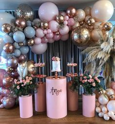 Balloons Design with a Twist! Perfect blend of Greys, Pinks, Gold and Beige _ Balloonist @ballonandribbons #WeddingDigest…