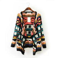 Women : European Fall cardigan sweater #colourful #multi color