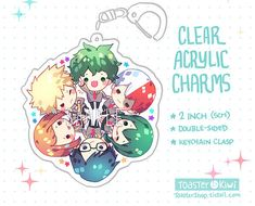 Items similar to My Super Hero School Charms inch Double-Sided Clear Acrylic) on Etsy Acrylic Keychains, Acrylic Charms, Clear Acrylic, My Hero Academia Merchandise, Anime Merchandise, Squad Pictures, Cute Pictures, Kawaii Stickers, Cute Stickers