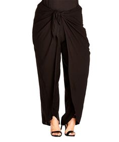 Loving this Black Wrap-Front Palazzo Pants - Plus on #zulily! #zulilyfinds