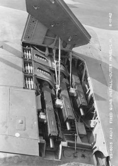 Three Browning M2 .50 caliber machine guns in the left wing of an F4U-1 Corsair fighter, Aug 11, 1942 Source	   	United States National Archives More on...	   	 F4U Corsair   	Main article  	Photos   Browning M2   	Main article  	Photos   Photos on Same Day	 	See all photos dated 11 Aug 1942 Added By	 	David Stubblebine