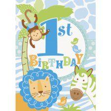 Blue Safari 1st Birthday Invitations (8 ct)