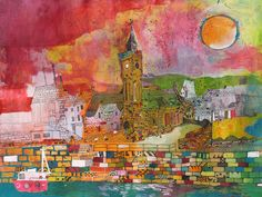 Porthleven fine art print by Chris Tate Colorful Artwork, Sketch Inspiration, Watercolor Landscape, Framed Art, Fine Art Prints, Abstract Art, Gallery, Drawings, Sketches