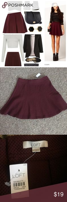 SALE...The Loft skirt The Loft burgundy skirt. Size 2 (about 18 inches long). This is perfect for work or a night out. LOFT Skirts Circle & Skater
