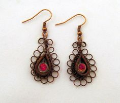 Copper Wire-work Red Evil Eye Pierced Earrings