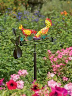 Whirligig: Calico Chicken Whirligig | Kinetic Garden Art
