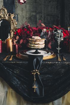 Gothic, Moody Dark Halloween | Table Detail. mcqueen wedding inspired.