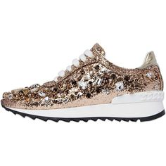 Casadei Women 30mm Swarovski Glittered Sneakers ($1,005) ❤ liked on Polyvore featuring shoes, sneakers, gold, glitter shoes, glitter sneakers, casadei shoes, casadei and decorating shoes