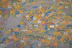 RARE Yuzen Chayatsuji Vintage Japanese Tango chirimen silk