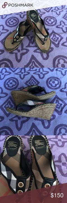 Authentic Burberry Wedges Burberry signature plaid with black accenting and gold hardware. Gently worn still in great condition. In my opinion these run a little small. I'm a solid size 7 and they fit me. Burberry Shoes Wedges