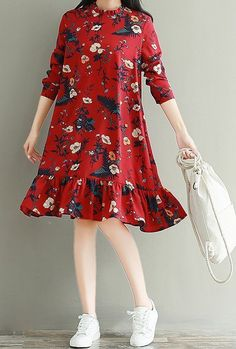 Women loose fit over size retro flower dress skater skirt casual fashion sweet #Unbranded #dress #Casual