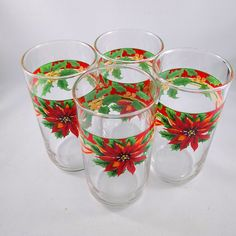 Vintage Libbey Christmas Drinking Glasses, Vintage Xmas Glasses, Poinsettia Glassware, Christmas Decor, Christmas Table Decor, Vintage Xmas
