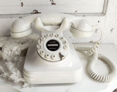 White Cream Vintage Rotary Like Push Dial telephone