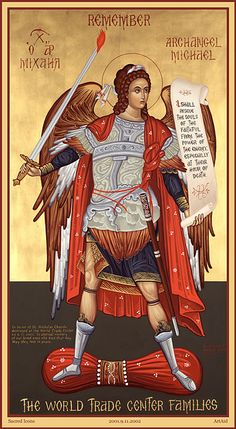 The Icon of St. Michael the Archangel is a unique collaboration between ArtAID, Sacred Icons, and the World Trade Center Families in memory of all who perished on September Religious Icons, Religious Art, Images Of Faith, Gabriel, Angel Drawing, Jesus Christ Images, Angel Warrior, Byzantine Icons, Saint Michel