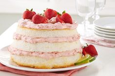 """Strawberry-""""Key Lime"""" Angel Lush: This no-bake cake hits all the right notes. Just layer a store-bought angel food cake with our creamy strawberry-citrus filling and you have a showstopper dessert with 15 minutes of prep! Kraft Recipes, Cake Recipes, Dessert Recipes, Dessert Ideas, No Bake Desserts, Just Desserts, Angel Food Cake, Angel Cake, How To Stack Cakes"""