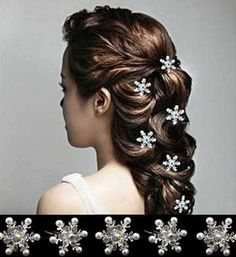 hair jewelry snowflake wedding bridal hair accessories crystal hairpin pearl hairpins bride hair pins head jewelr