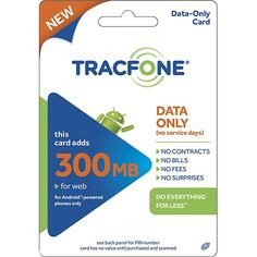 TRACFONE - Android $10 Data Plan Card - Larger Front