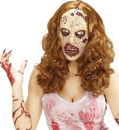 Halloween Maske und Perücke Zombie: Diese Latexmaske mit Perücke für Damen stellt einen weiblichen Zombie dar.Die verwesende Haut, fehlenden Hautsücke und darunterliegendes, rotes Gewebe und freie Augen- und...