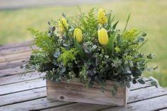 Yellow Gray Centerpiece / Rustic Wood Box / Spring Wedding / Tulips / Solidago / Eucalyptus / Waxflower