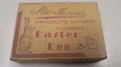 VINTAGE MISS MARVINS CHOCOLATE COCOANUT EASTER 1 POUND EGG CANDY BOX PHILA PA | eBay