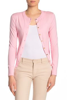 crew pink cardigan with gold buttons. Color is peony. Cotton Cardigan, Knit Cardigan, Work Skirts, Sweater Fashion, Fashion Hair, Style Fashion, Lightweight Cardigan, Cool Sweaters, Distressed Skinny Jeans