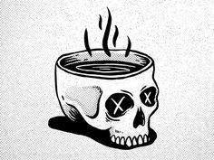 Skull Coffee designed by TJ Nicklin. Skeleton Drawings, Skeleton Art, Tattoo Drawings, Art Drawings, Art Tattoos, Image Deco, Coffee Tattoos, Skull Illustration, Skull Artwork