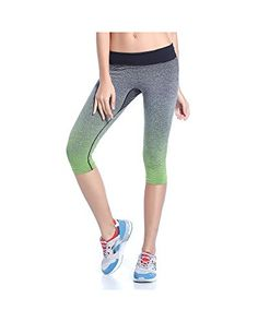 8aada8e597 Haogo Womens Gradient Stretch Cropped Sports Workout Leggings Yoga Pants **  You can get additional