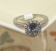 Rhinestone Platinum Plated Engagement Ring, AAA Zircon, Platinum