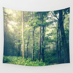 Inner Peace Wall Tapestry, woodland decor, rustic, cabin art, woods, forest, fog, trees, home decor