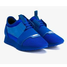 Balenciaga Blue Leather Suede Low Top Race Sneakers