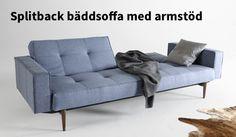 Splitback bäddsoffa med armstöd, klädd i tyg nr 525 Mixed Dance Light Blue, 9390 kr