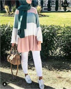 Stylish And Versatile Summer Hijab Outfits Just Trendy Girls & stilvolles und vielseitiges sommer-hijab-outfit für modische mädchen & tenues hijab d'été élégantes et polyvalentes just trendy girls Modern Hijab Fashion, Street Hijab Fashion, Modesty Fashion, Hijab Fashion Inspiration, Muslim Fashion, Hijab Fashion Summer, Hijab Chic, Casual Hijab Outfit, Casual Hijab Styles