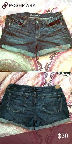 AE 16 Dark Wash Boyfriend Midi Shorts Midi length. Relaxed, boyfriend fit and soft denim. Gently worn. American Eagle Outfitters Shorts Jean Shorts