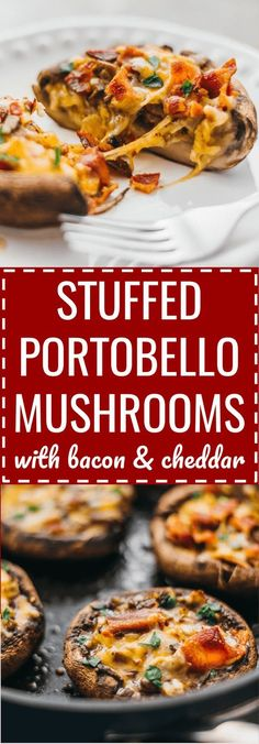 These easy and low carb portobello mushrooms are stuffed with cheddar cheese, onions, and crispy bacon. keto, low carb, diet, atkins, induction, meals, recipes, easy, dinner, lunch, foods, healthy, best, appetizer, classic, paleo, gluten free, portabella, 2 week diet low carb