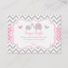 Pink and Gray Elephant Chevron Diaper Raffle Business Card - pink gifts style ideas cyo unique Custom Baby Shower Invitations, Baby Shower Invitation Cards, Wedding Invitations, Grey Elephant, Giraffe, Pack Of Diapers, Diaper Raffle, Twinkle Twinkle Little Star, Will You Be My Bridesmaid