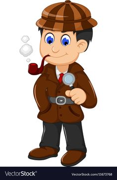 Cute detective cartoon posing with magnifying glas vector image on VectorStock