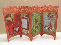 seasons Sheltering Tree~ Asian inspired: Folding Screen - Oriental by Chinnu - Cards and Paper Crafts at Splitcoaststampers Tri Fold Cards, Fancy Fold Cards, Folded Cards, Scrapbooking, Scrapbook Cards, Making Greeting Cards, Greeting Cards Handmade, Asian Cards, Crates