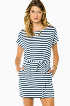 Cozy Striped Tie Waist Dress in Blue and White by Piko