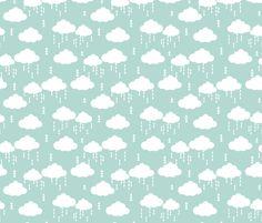 cloud clouds rain raincloud mint nursery baby kids  fabric by charlottewinter on Spoonflower - custom fabric